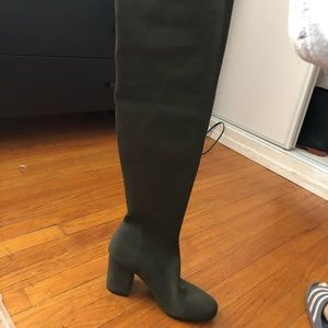 Olive Green sock thigh high boots